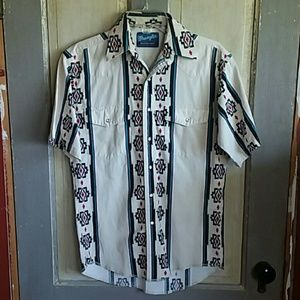Vintage Wrangler Aztec Snap/Button Up Short Sleeve